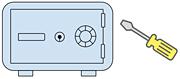 平たくて硬い物を金庫の枠と扉の間に挿入させて軽くこじ開ける